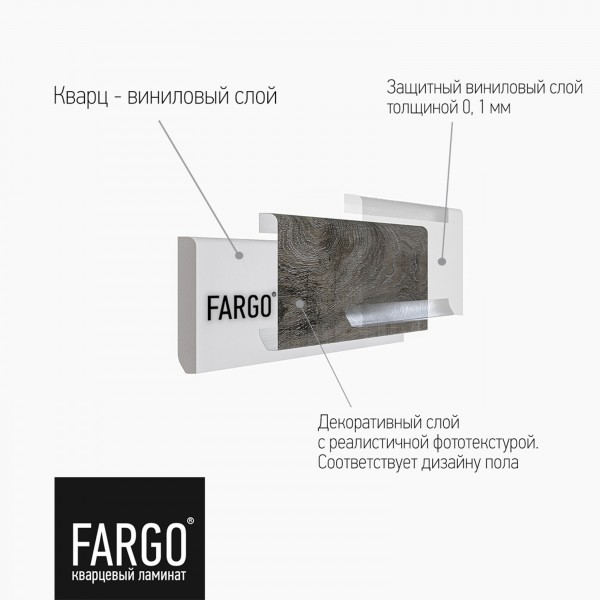Кварцевый плинтус Fargo 379-1 Дуб Серый Иней градиент